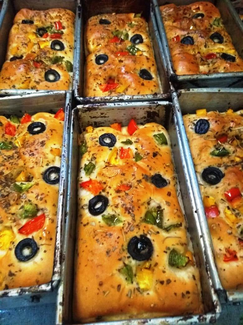 focaccia with olives and herbs